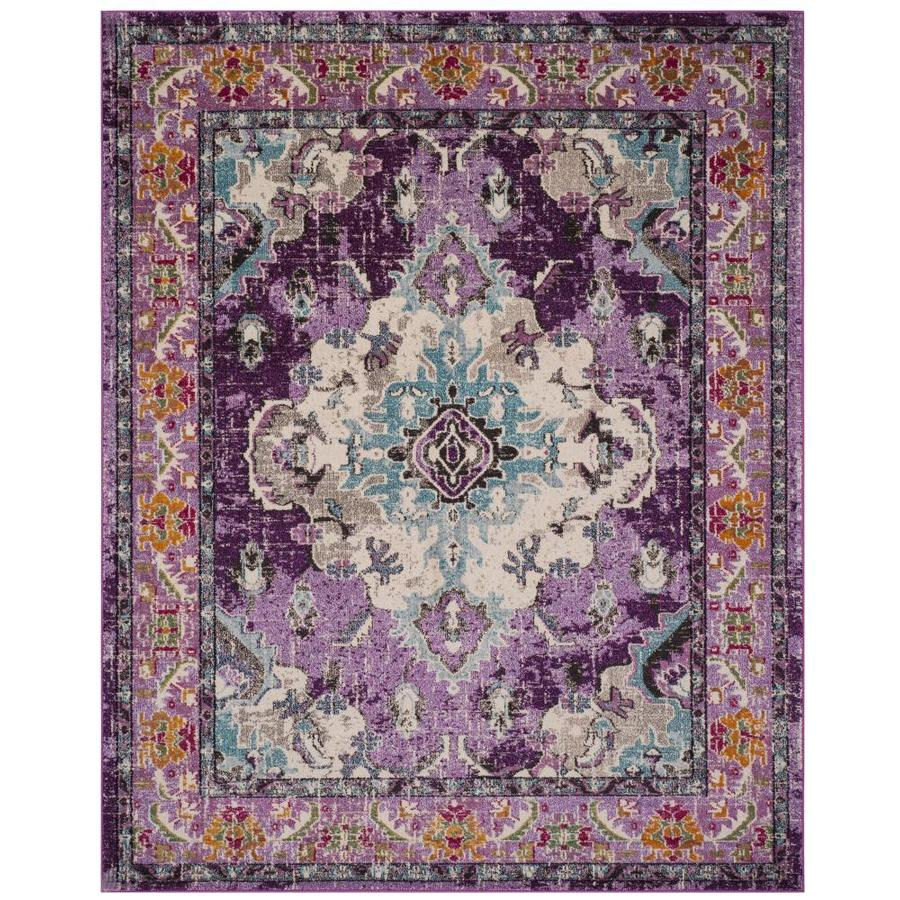 Safavieh Monaco Mahal Violet/Light Blue Rectangular Indoor Distressed Area Rug (Common: 9 x 12; Actual: 9-ft W x 12-ft L)
