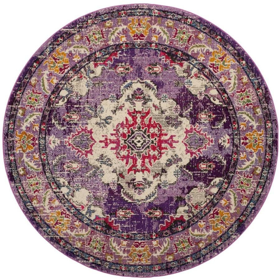 Safavieh Monaco Mahal 7 X 7 Violet Fuchsia Round Indoor Distressed Overdyed Oriental Area Rug In The Rugs Department At Lowes Com