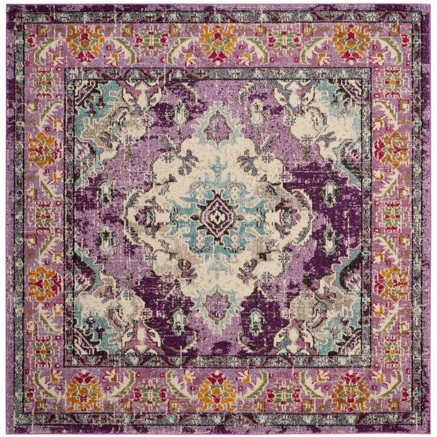 Safavieh Monaco Mahal Violet/Light Blue Square Indoor Distressed Area Rug (Common: 5 x 5; Actual: 5-ft W x 5-ft L)
