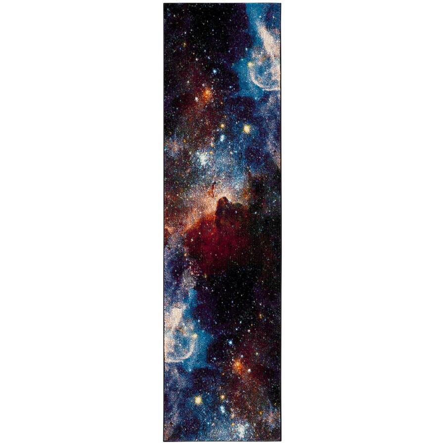 Safavieh Galaxy Nebula Purple/Multi Rectangular Indoor Space Runner (Common: 2 x 8; Actual: 2.2-ft W x 8-ft L)