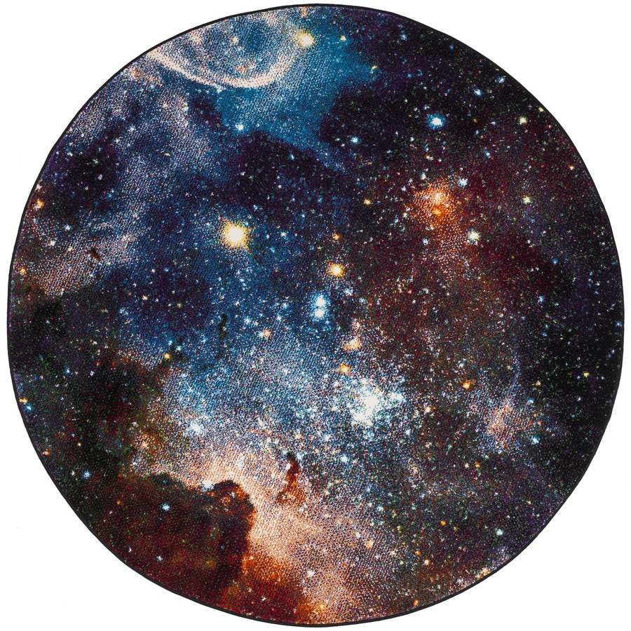 Safavieh Galaxy Nebula Purple Round Indoor Area Rug