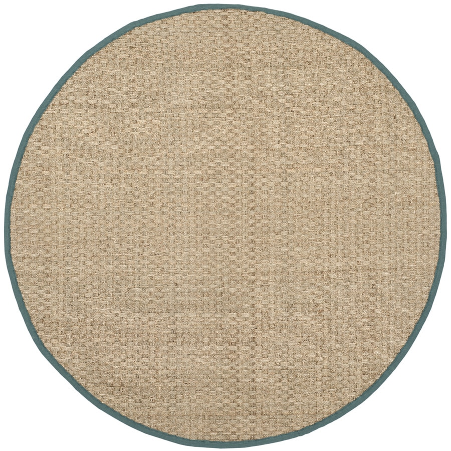 Safavieh Natural Fiber Hampton Natural/Light Blue Round Indoor Machine-Made Coastal Area Rug (Common: 8 x 8; Actual: 8-ft W x 8-ft L x 8-ft dia)