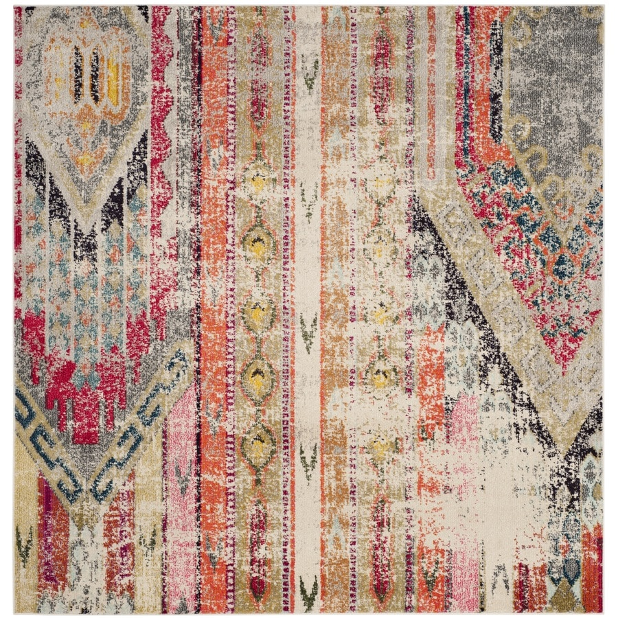Safavieh Monaco Kolby Light Gray/Multi Square Indoor Machine-made Distressed Area Rug (Common: 9 x 9; Actual: 9-ft W x 9-ft L)