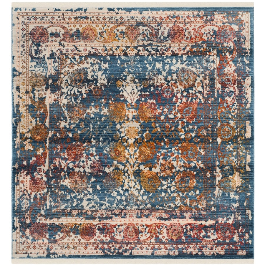 Safavieh Vintage Turquoise And Multi Colored Area Rug: Safavieh Vintage Persian Himenz Turquoise Square Indoor