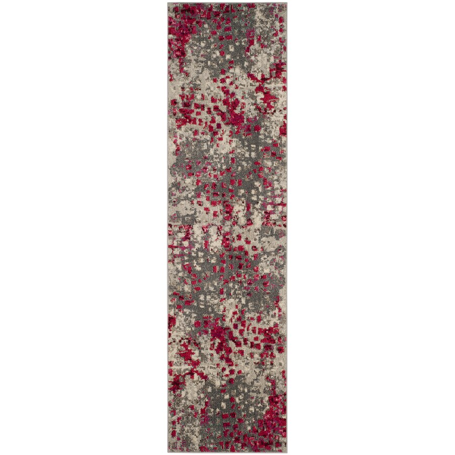 Safavieh Monaco Gogh Gray/Fuchsia Rectangular Indoor Runner (Common: 2 x 10; Actual: 2.2-ft W x 10-ft L)