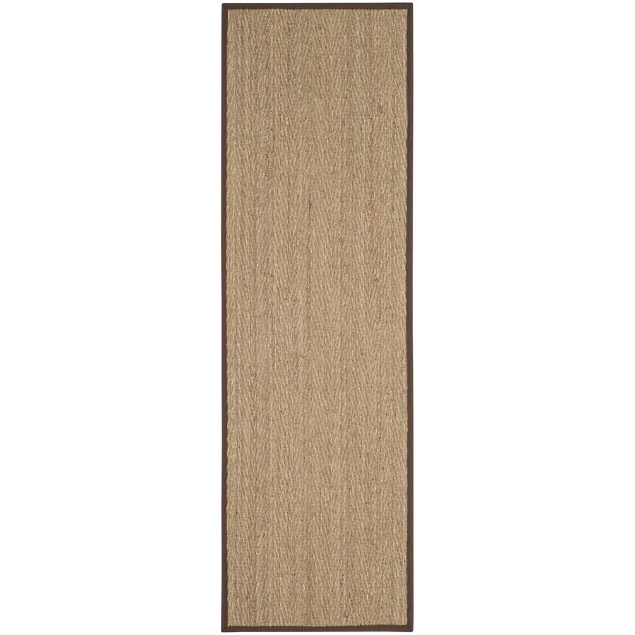 Safavieh Natural Fiber Montauk Natural/Dark Brown Indoor Coastal Runner (Common: 2 x 8; Actual: 2.5-ft W x 8-ft L)