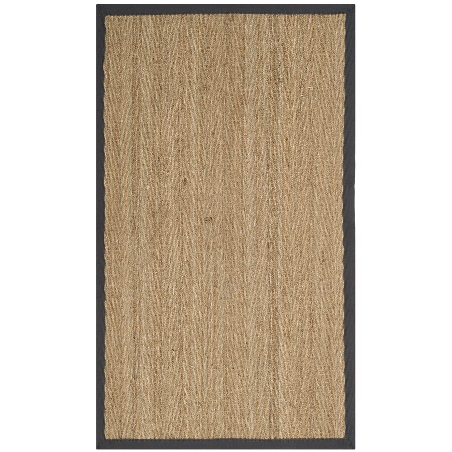 Safavieh Natural Fiber Montauk Natural/Dark Gray Indoor Coastal Throw Rug (Common: 3 x 5; Actual: 3-ft W x 5-ft L)