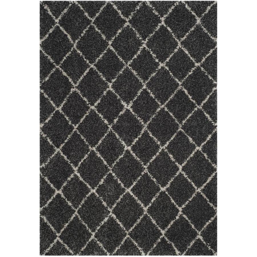 Safavieh Arizona Shag Shiloh Anthracite/Beige Rectangular Indoor Machine-Made Southwestern Area Rug (Common: 5 x 7; Actual: 5.083-ft W x 7.5-ft L)