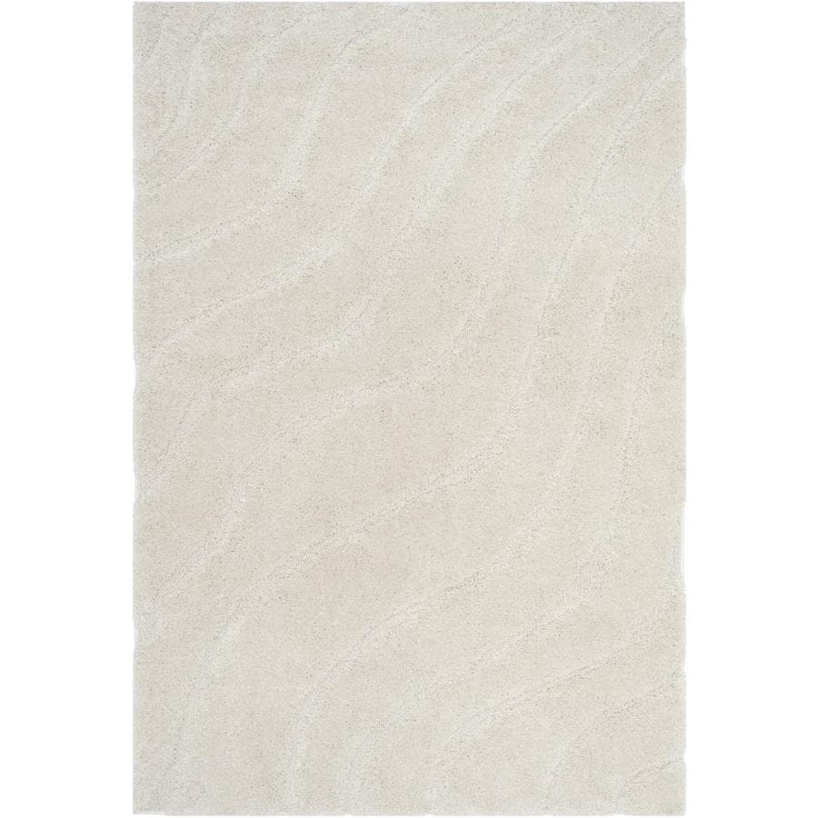 Safavieh Florida Waves Shag Creme/Creme Rectangular Indoor Machine-made Tropical Area Rug (Common: 5 x 7; Actual: 5.1-ft W x 7.5-ft L)