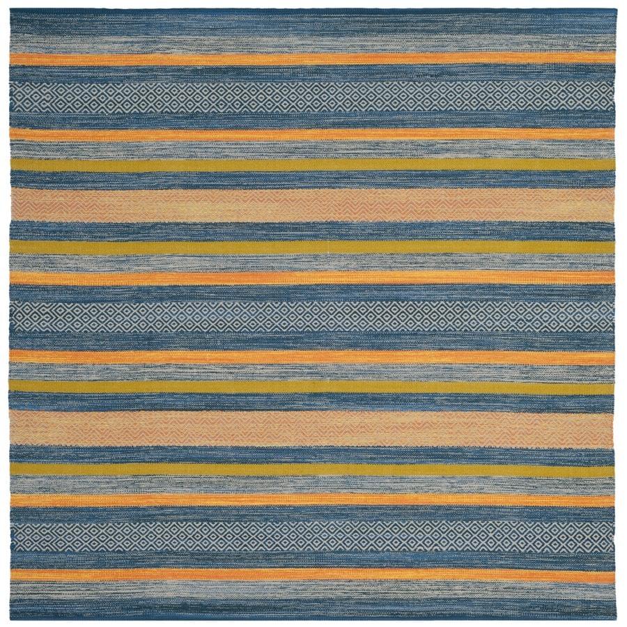 Safavieh Montauk Jervis Blue/Orange Square Indoor Handcrafted Coastal Area Rug (Common: 6 x 6; Actual: 6-ft W x 6-ft L)