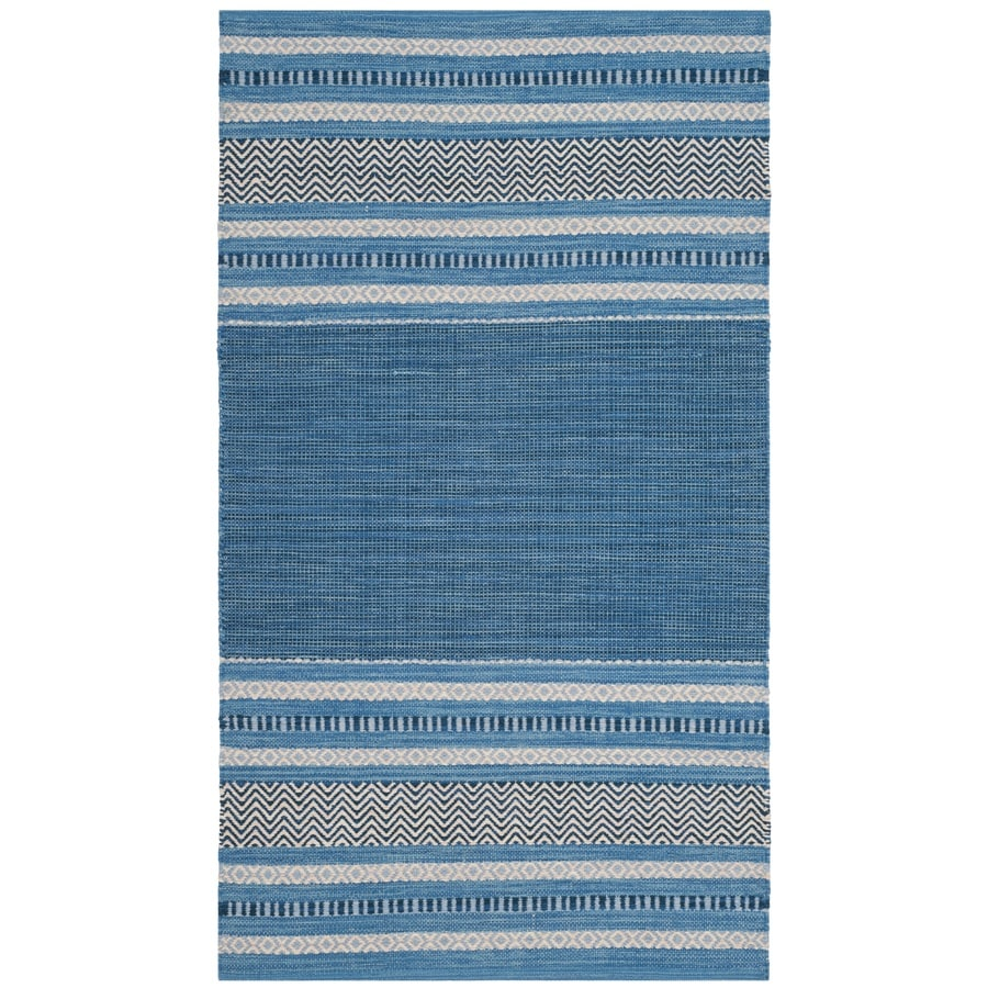 Safavieh Montauk Gibson Blue/Gray Indoor Handcrafted Coastal Throw Rug (Common: 3 x 5; Actual: 3-ft W x 5-ft L)
