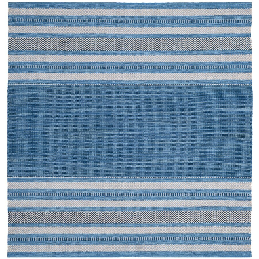 Safavieh Montauk Gibson Blue/Gray Square Indoor Handcrafted Coastal Area Rug (Common: 6 x 6; Actual: 6-ft W x 6-ft L)