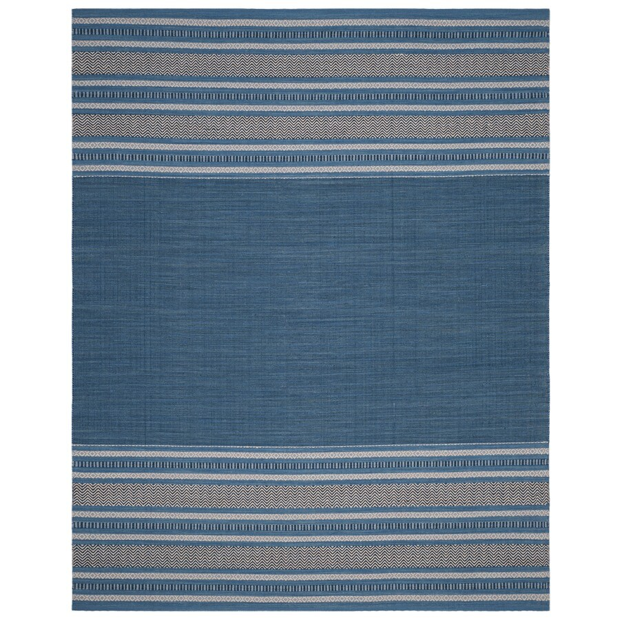 Safavieh Montauk Gibson Blue/Gray Indoor Handcrafted Coastal Area Rug (Common: 8 x 10; Actual: 8-ft W x 10-ft L)
