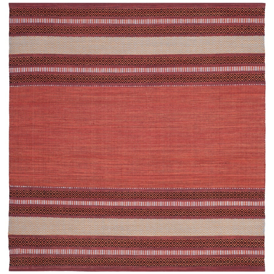 Safavieh Montauk Gibson Red/Ivory Square Indoor Handcrafted Coastal Area Rug (Common: 6 x 6; Actual: 6-ft W x 6-ft L)