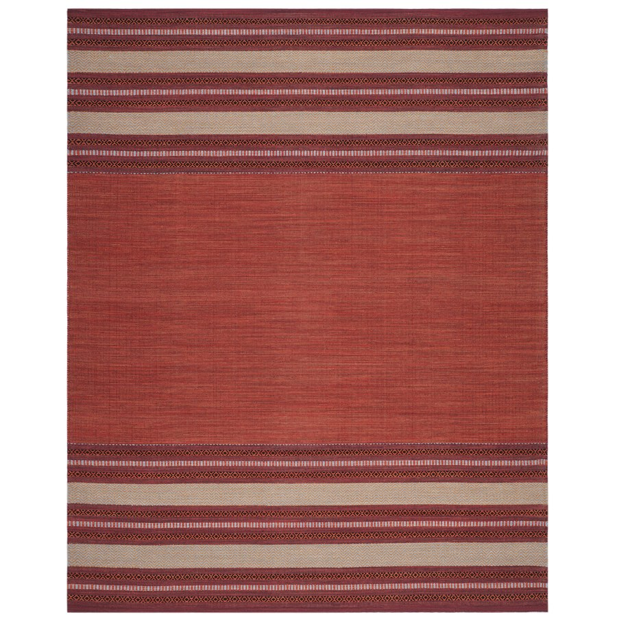 Safavieh Montauk Gibson Red/Ivory Indoor Handcrafted Coastal Area Rug (Common: 8 x 10; Actual: 8-ft W x 10-ft L)