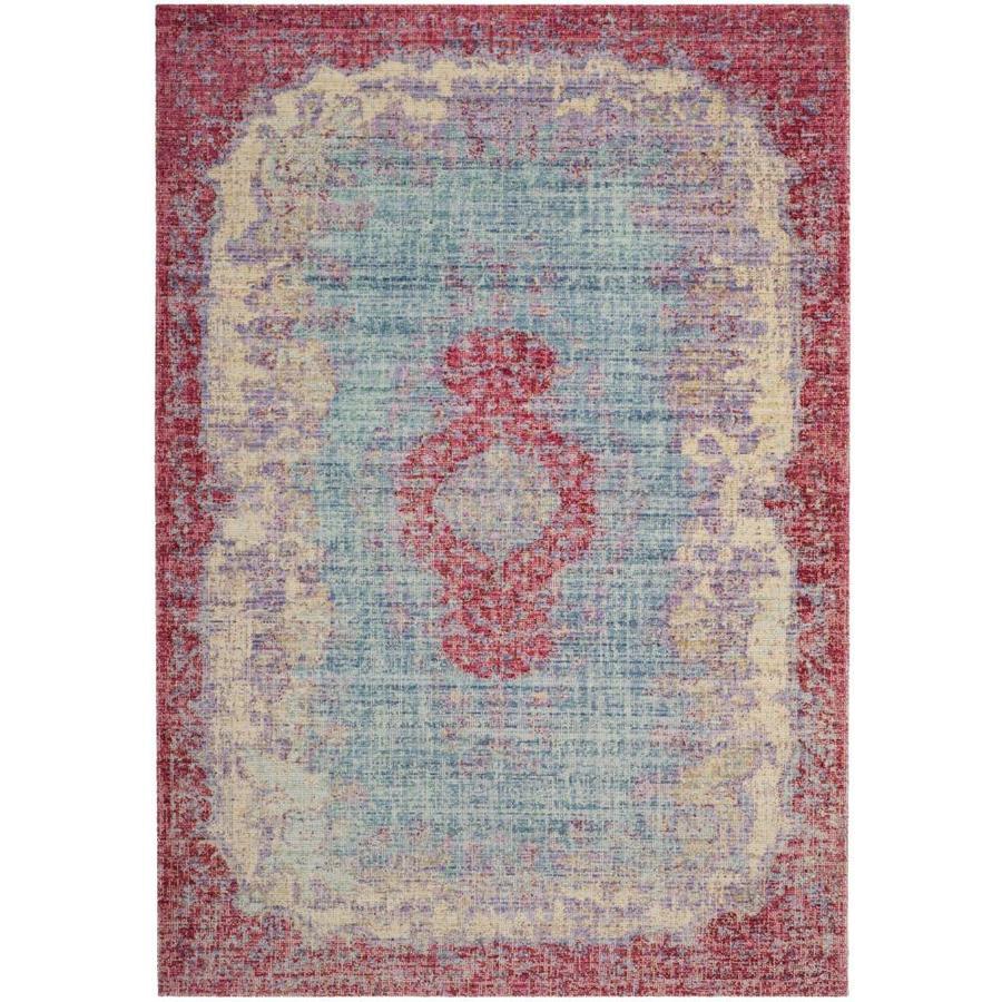 Safavieh Windsor Kourash Light Blue/Fuchsia Indoor Oriental Area Rug (Common: 9 x 13; Actual: 9-ft W x 13-ft L)
