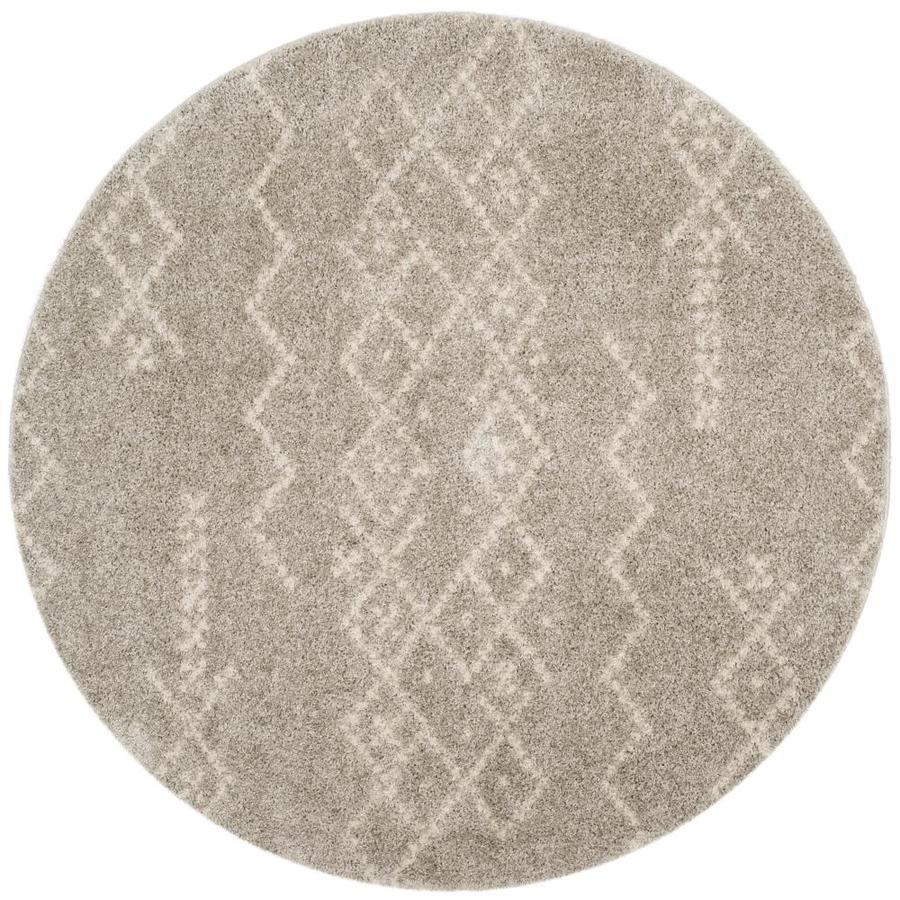 Safavieh Arizona Jed Gray/Ivory Round Indoor Area Rug (Common: 7 x 7; Actual: 6.7-ft W x 6.6-ft L x 6.6-ft dia)