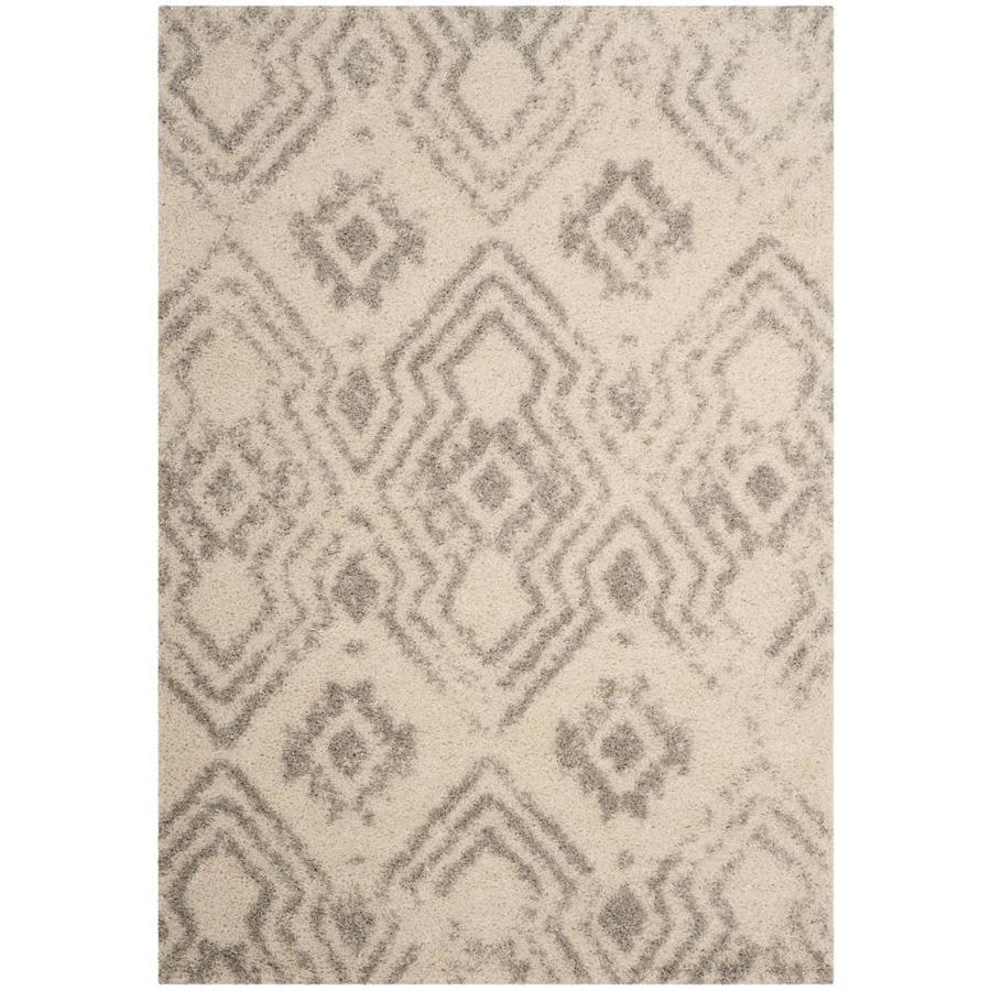 Safavieh Arizona Houston Ivory/Gray Rectangular Indoor Machine-Made Area Rug (Common: 5 X 8; Actual: 5.1-ft W x 7.5-ft L)
