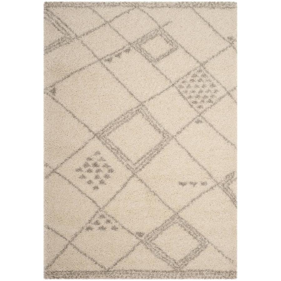 Safavieh Arizona Gus Ivory/Gray Rectangular Indoor Machine-Made Area Rug (Common: 5 X 8; Actual: 5.1-ft W x 7.5-ft L)