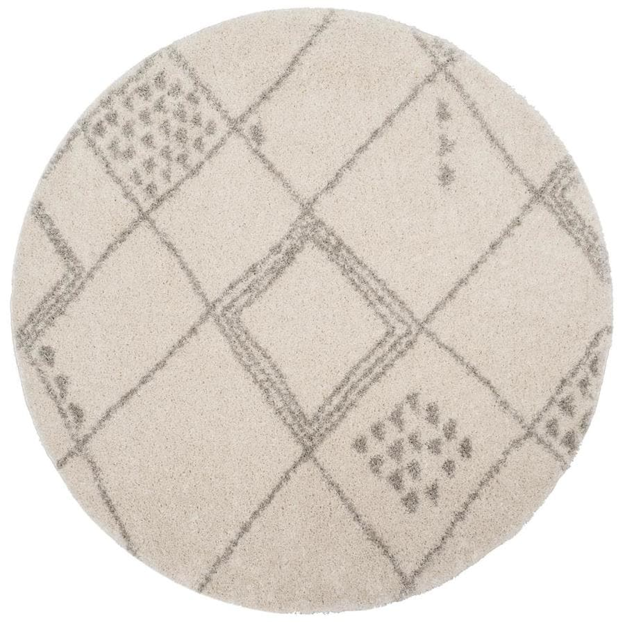 Safavieh Arizona Gus Ivory/Gray Round Indoor Area Rug (Common: 7 x 7; Actual: 6.7-ft W x 6.6-ft L x 6.6-ft dia)