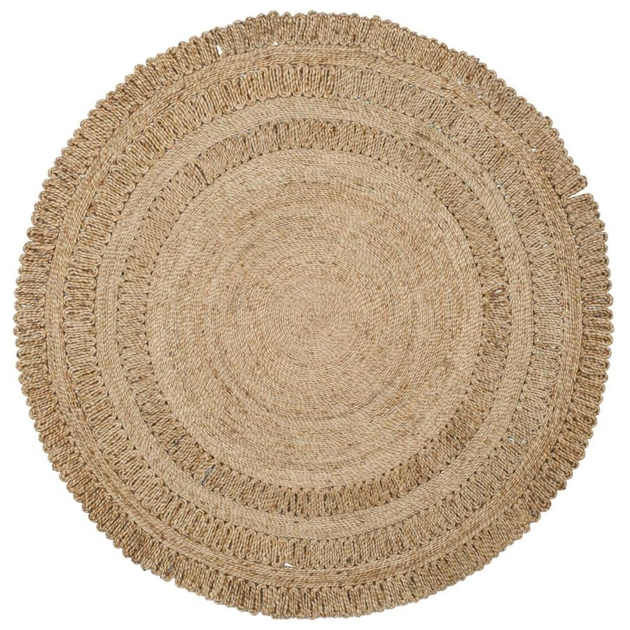 Safavieh Natural Fiber Springs Natural Round Indoor Handcrafted Coastal Area Rug (Common: 4 x 4; Actual: 4-ft W x 4-ft L x 4-ft dia)