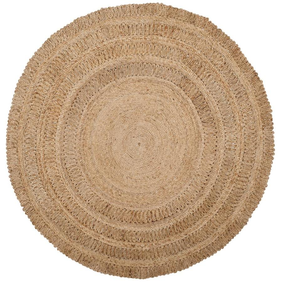 Safavieh Natural Fiber Springs Natural Round Indoor Handcrafted Coastal Area Rug (Common: 6 x 6; Actual: 6-ft W x 6-ft L x 6-ft dia)