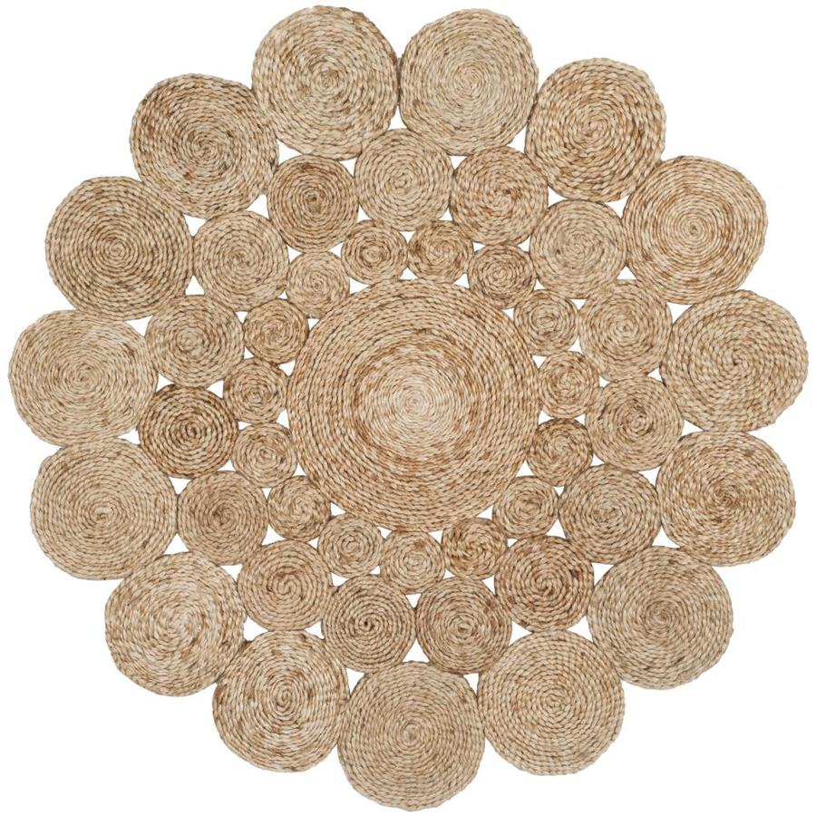 Safavieh Natural Fiber Hudson Natural Round Indoor Handcrafted Coastal Area Rug (Common: 4 x 4; Actual: 4-ft W x 4-ft L x 4-ft dia)