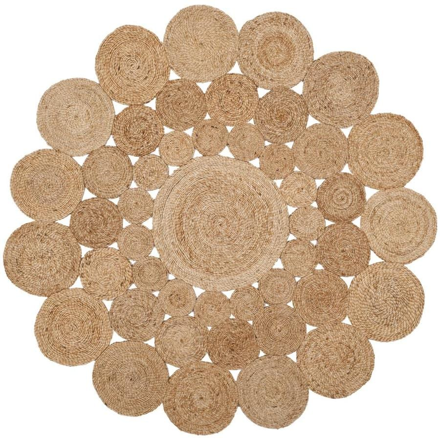Safavieh Natural Fiber Hudson Natural Round Indoor Handcrafted Coastal Area Rug (Common: 6 x 6; Actual: 6-ft W x 6-ft L x 6-ft dia)