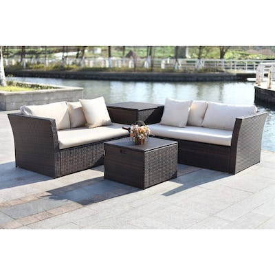 Cool Welch 4 Piece Plastic Frame Patio Conversation Set With Cushions Dailytribune Chair Design For Home Dailytribuneorg