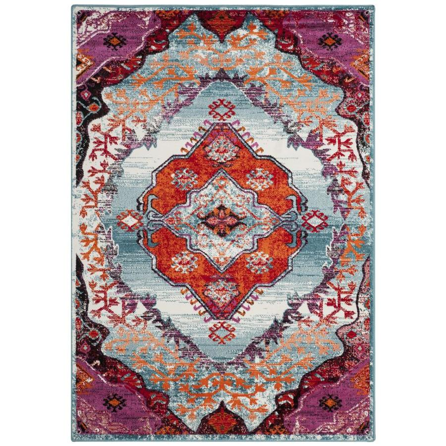Safavieh Cherokee Ardley Light Blue/Fuchsia Rectangular Indoor Machine-Made Lodge Area Rug (Common: 5 x 7; Actual: 5.1-ft W x 7.5-ft L)