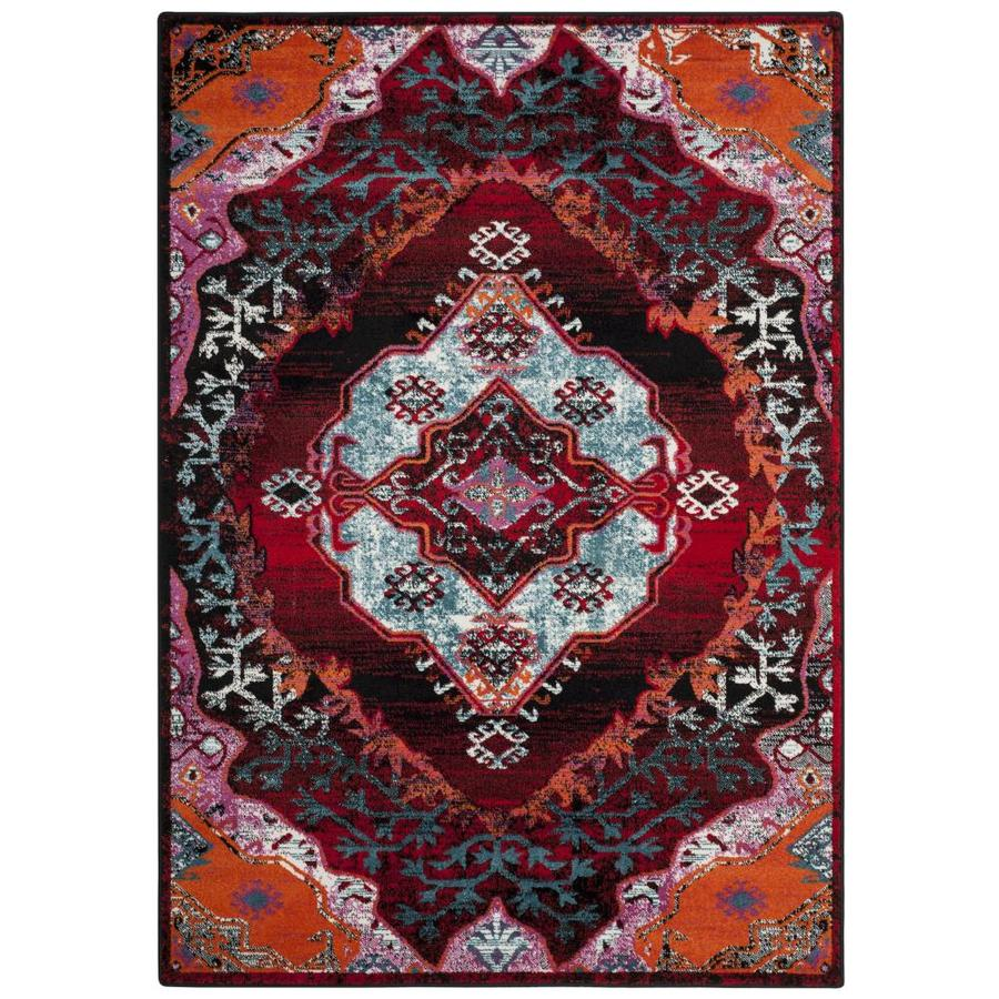 Safavieh Cherokee Ardley Light Blue/Red Indoor Lodge Area Rug (Common: 5 x 8; Actual: 5.1-ft W x 7.5-ft L)