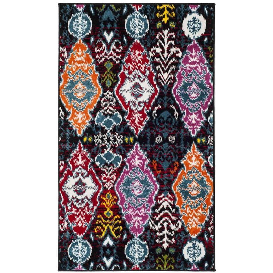Safavieh Cherokee Diamond Black/Red Rectangular Indoor Machine-made Lodge Area Rug (Common: 4 X 6; Actual: 4-ft W x 6-ft L x 0-ft dia)