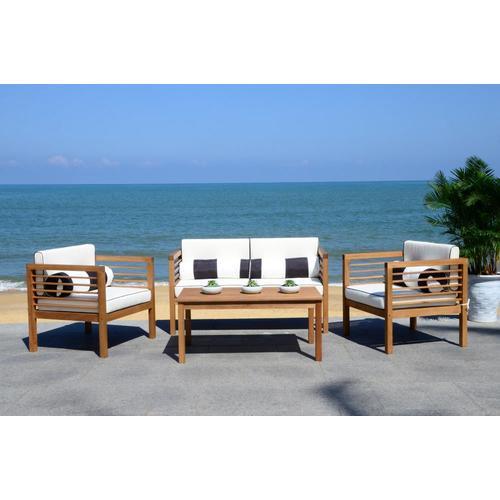 Safavieh Alda 4-Piece Wood Frame Patio Conversation Set ... on Safavieh Alda 4Pc Outdoor Set id=72086