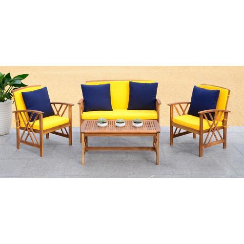 Safavieh Fontana 4-Piece Wood Frame Patio Conversation Set ... on Safavieh Fontana Patio Set id=58900