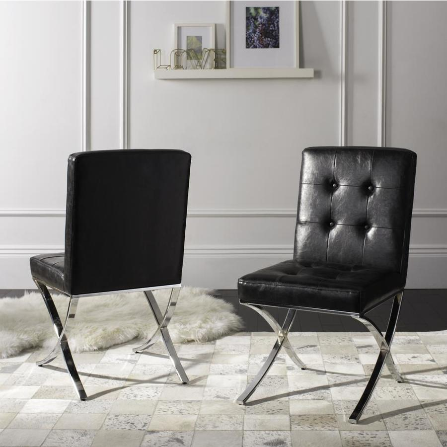 black leather occasional chair safavieh walsh modern black chrome faux leather accent 11215 | 889048370807