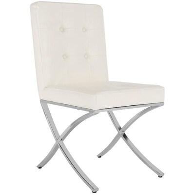 Phenomenal Safavieh Walsh Modern White Chrome Faux Leather Accent Chair Machost Co Dining Chair Design Ideas Machostcouk