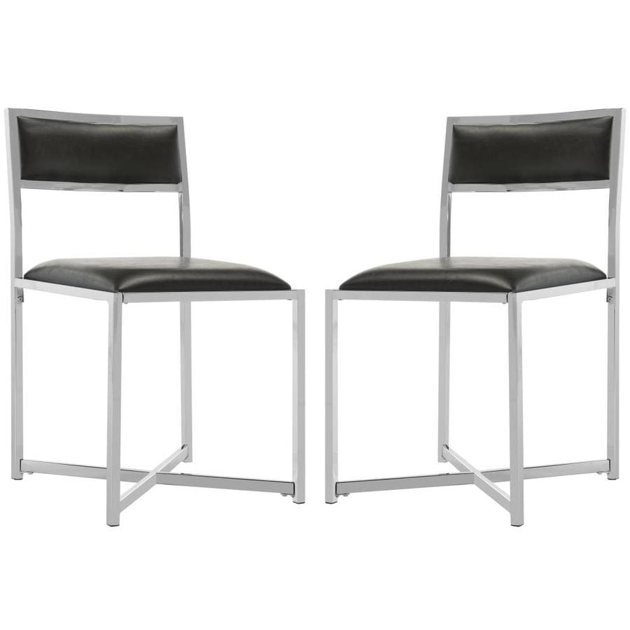 Safavieh Set Of 2 Menken Casual Black/Chrome Faux Leather Accent Chairs