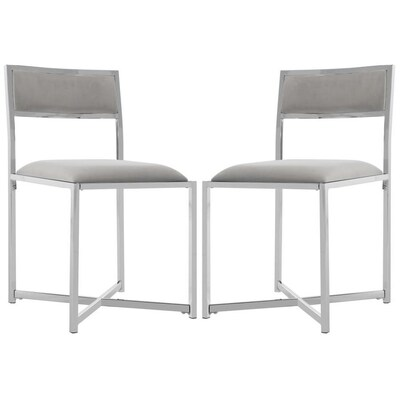 Remarkable Safavieh Set Of 2 Menken Casual Gray Chrome Accent Chair At Cjindustries Chair Design For Home Cjindustriesco