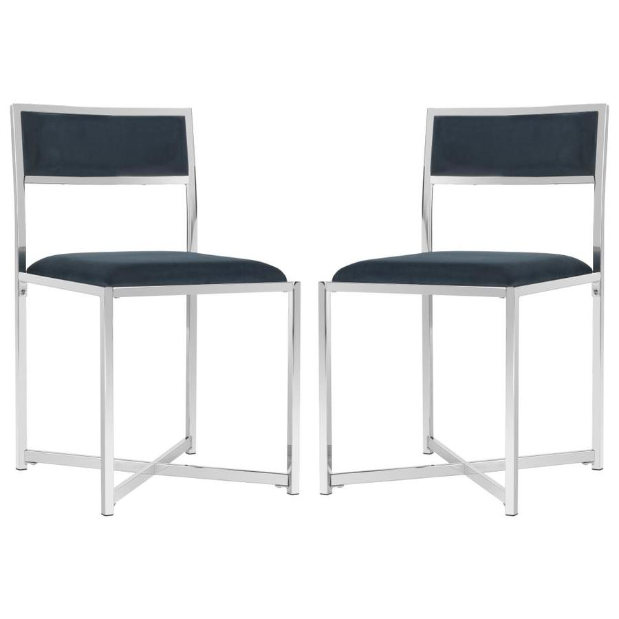 Safavieh Set Of 2 Menken Casual Navy/Chrome Accent Chairs
