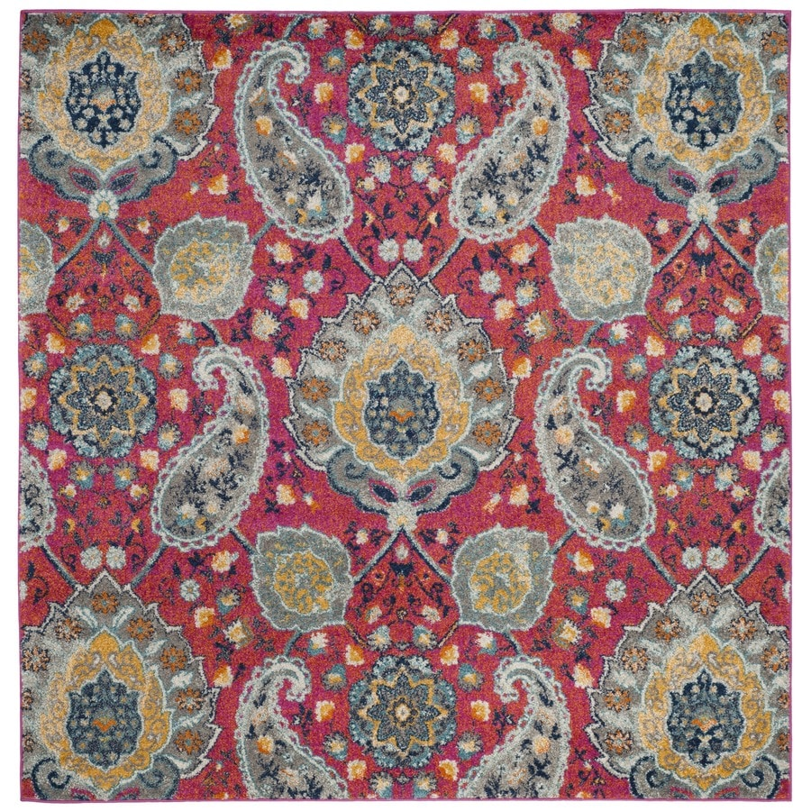 Safavieh Madison Abbey Fuchsia/Gold Square Indoor Machine-Made Lodge Area Rug (Common: 6 x 6; Actual: 6.6-ft W x 6.6-ft L x 6.6-ft dia)