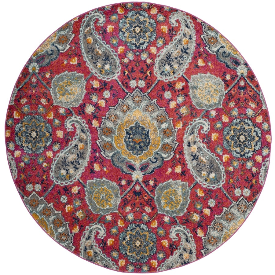 Safavieh Madison Abbey Fuchsia/Gold Round Indoor Lodge Area Rug (Common: 7 x 7; Actual: 6.7-ft W x 6.6-ft L x 6.6-ft dia)