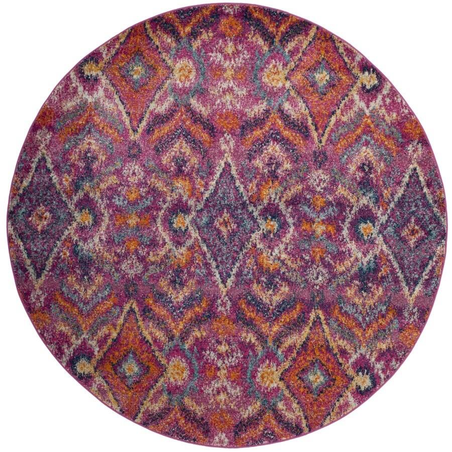 Safavieh Madison Loma Fuchsia Round Indoor Lodge Area Rug (Common: 7 x 7; Actual: 6.7-ft W x 6.6-ft L x 6.6-ft dia)