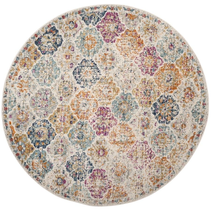 Safavieh Madison Lyton Cream Round Indoor Distressed Area Rug (Common: 7 x 7; Actual: 6.7-ft W x 6.6-ft L x 6.6-ft dia)