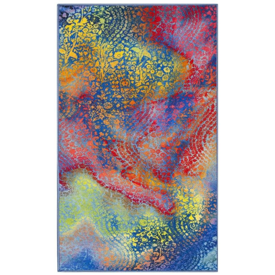 Safavieh Paint Brush Filmore Blue/Coral Rectangular Indoor Throw Rug