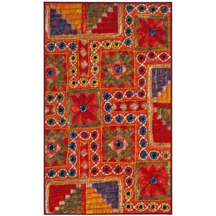Safavieh Aztec Tizoc Orange Indoor Southwestern Throw Rug (Common: 3 x 5; Actual: 3-ft W x 5-ft L)