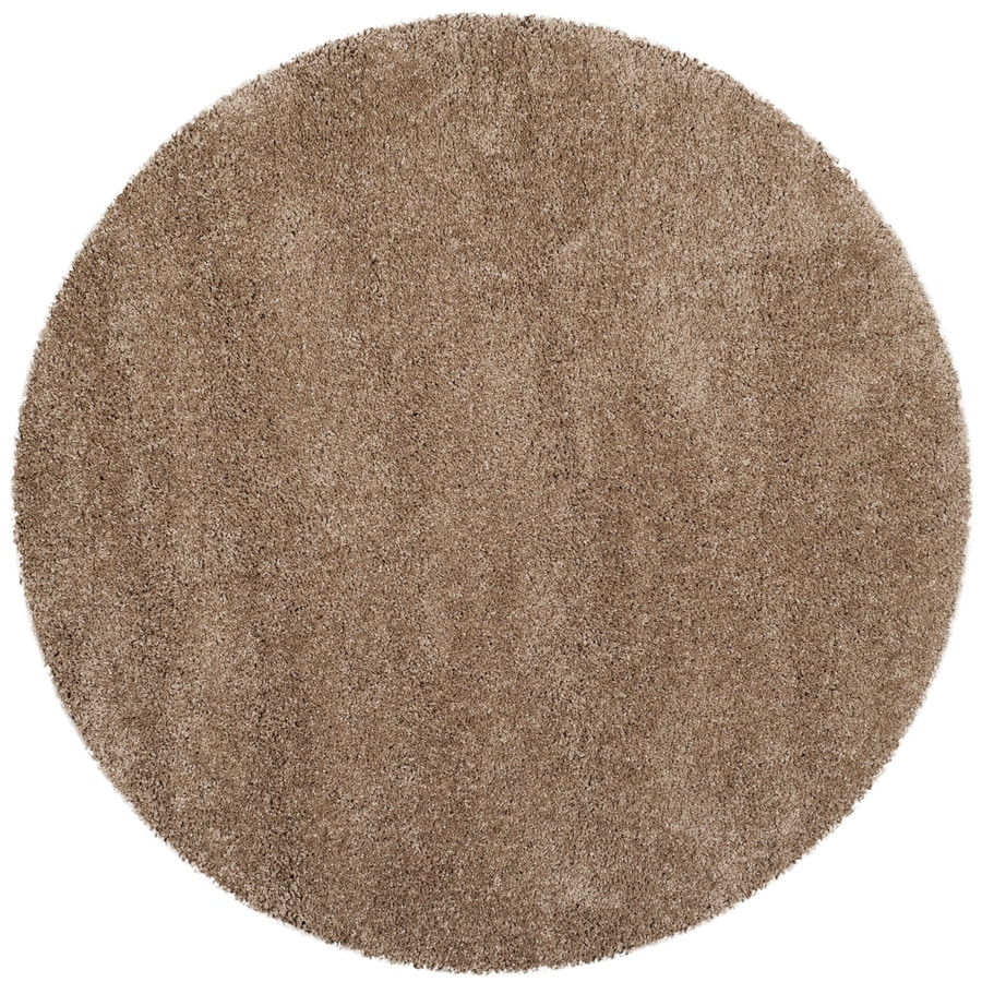 Safavieh Milan Shag Dark Beige Round Indoor Area Rug Common 10 X