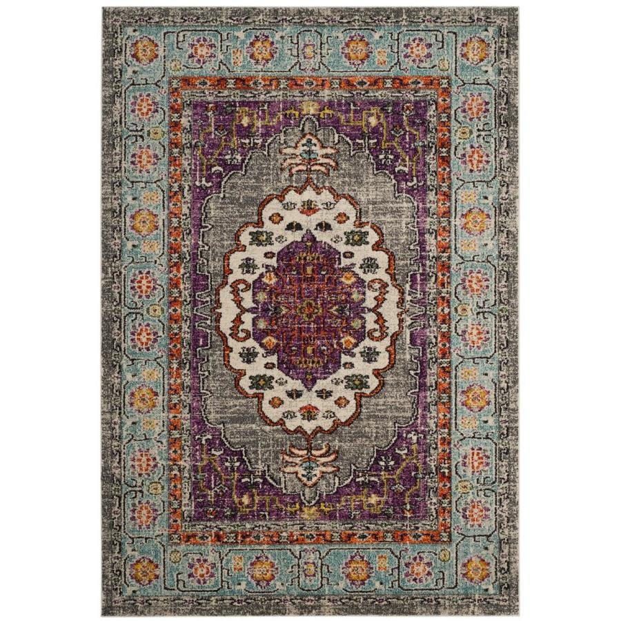 Safavieh Monaco Rask Violet/Light Blue Indoor Distressed Area Rug (Common: 5 x 8; Actual: 5.1-ft W x 7.6-ft L)