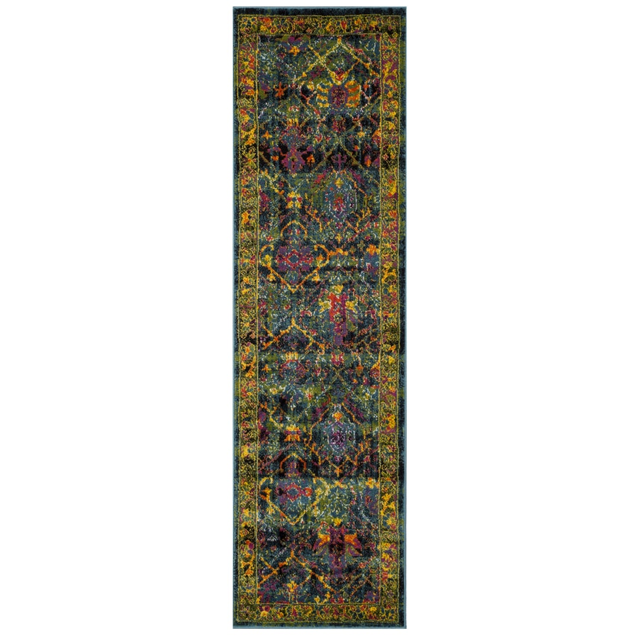 Safavieh Cherokee Dolby Black/Blue Indoor Lodge Runner (Common: 2 x 8; Actual: 2.25-ft W x 8-ft L)