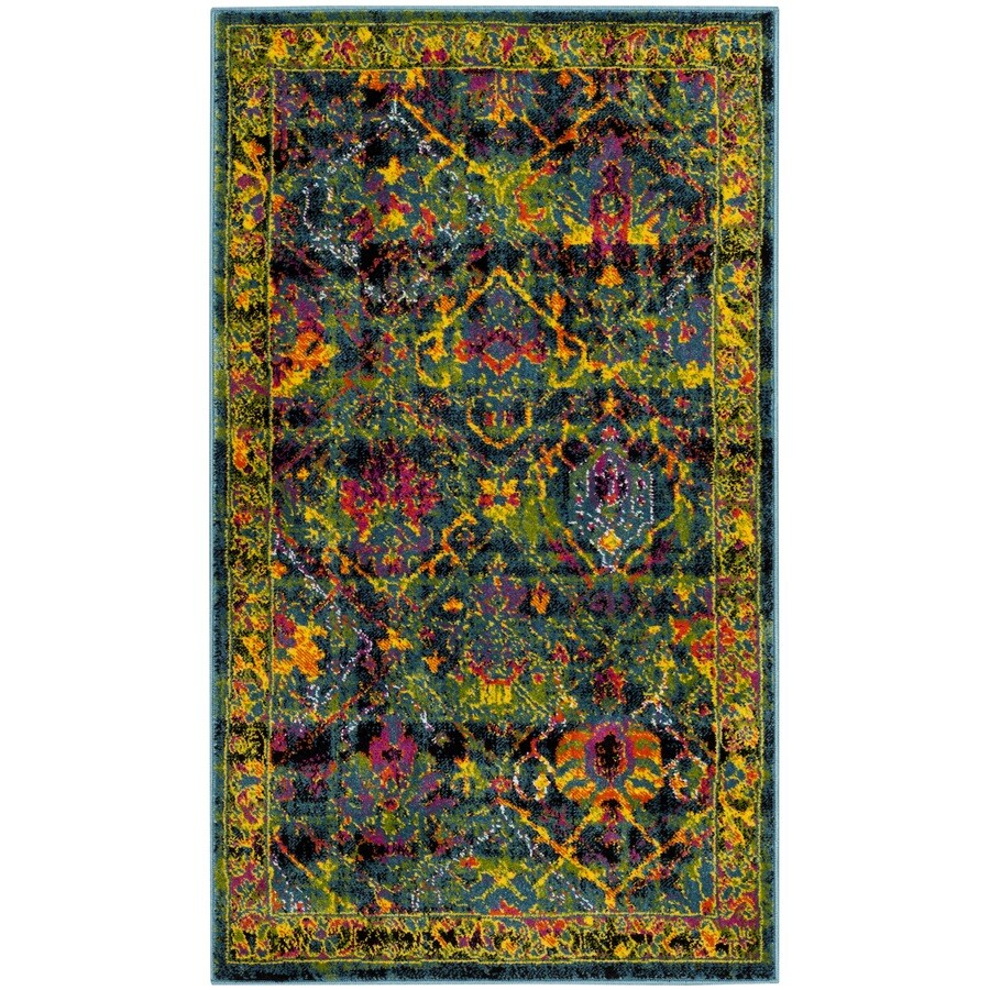 Safavieh Cherokee Dolby Black/Blue Indoor Lodge Throw Rug (Common: 3 x 5; Actual: 3-ft W x 5-ft L)