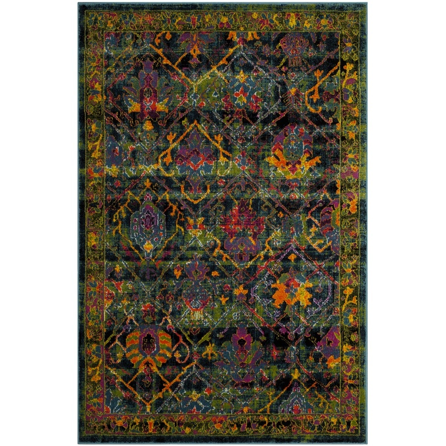 Safavieh Cherokee Dolby Black/Blue Rectangular Indoor Machine-made Lodge Area Rug (Common: 4 X 6; Actual: 4-ft W x 6-ft L x 0-ft dia)